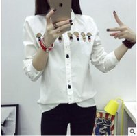 Wholesale Japanese Slimming Shirt - Students' shirts women's long sleeves 2018 spring and autumn new Japanese small ball back schoolbag embroidery white slim shirt