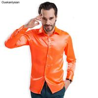 6a8302204d Ouekanlysian Luxury Silk Satin Shirt Uomo manica lunga di cristallo come  pulsante abito formale camicia Business casual arancione viola