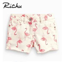 Wholesale Cute Short Pants For Girls - Richu sport short for baby summer 3 D printed cute bottom clothes for girl pants cotton fabric Made In China wholesale animal print