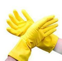 gants de nettoyage jaune achat en gros de-Vente en gros-5pair / lot Vente en gros Livraison gratuite en caoutchouc jaune Vêtement Gants de lavage Devoirs ménagers Nettoyage Gants