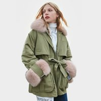 Wholesale down jackets uk resale online - US UK COLORS IN STOCK Women Winter Real Fur Collar White duck Down Coat and Jacket Female outwear