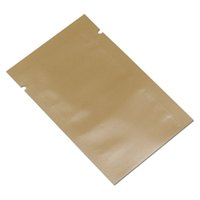 ingrosso caffè sottovuoto-200Pcs / lotto Flat Top Glossy Orange Foil Package Bag Mylar Caffè in polvere Snack Nuts Vacuum Seal Packing Pouch Borsa al dettaglio
