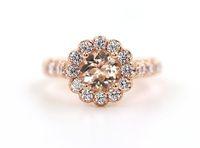 старинные розовые золотые бриллиантовые кольца оптовых-Античный старинный драгоценный камень 2,36 карат Морганит Алмаз 18 карат розовое золото обручальное кольцо обручальное кольцо для женщин размер 5-12