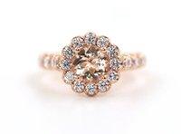 anel de casamento morganite venda por atacado-Antique Vintage Gemstone 2.36CT Morganite Diamante 18 K Rose Gold Nupcial Anel de Noivado Anel de Casamento para Mulheres Tamanho 5-12