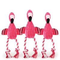 jouet parlant interactif achat en gros de-Flamingo Jouet En Peluche Forme Chien À Croquer Chiot Grinçant Son Jouets Interactif Augmenter Les Sentiments Pet Fournitures Rose Parler jouets T1I425