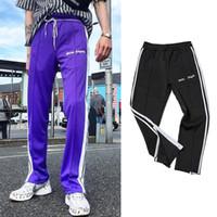 Wholesale cotton track pants men - Palm Angels Track Pants Men Women Fashion Side Stripe Casual Pants Black Purple Ankle-Zipper Jogger Pants Hip Hop Trousers