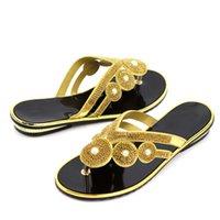 yapay elmas takozlar toptan satış-Altın Renk İtalya Takozlar Yeni Tasarım Nijerya Kadın Ayakkabı Eşleşen Olmadan İtalyan Ayakkabı Çanta Afrika Popüler Ayakkabı Ile Rhinestone