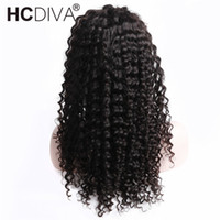 Wholesale full lace wig deep wave - Deep Wave 360 Lace Frontal Wigs Pre Plucked With Around Baby Hair Black Color For Woman Brazilian Remy Lace Frontal Wigs HCDIVA