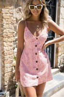 Wholesale beach vacation dresses - Women Summer Dress Sexy V-neck Printing Harness A-line Dress Back Lace Vacation Beach Mini Dress Modern Empire Style Vestidos