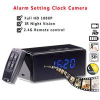 ingrosso sveglia della macchina fotografica cmos-Nuovo orologio da tavolo Camera 1080P 720P Wifi Clock Camera Alarming Setting IR Night Vision Mini Motion Sensor Mini Camcorder