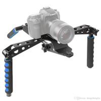dslr stabilizatörler donanımı toptan satış-Neewer Alüminyum Alaşım Katlanabilir DSLR Rig Film Seti Filmi Yapma Sistemi Omuz Canon / Nikon için Omuz Desteği Rig Sabitleyici