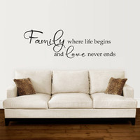 vinilos para sala familiar al por mayor-Familia donde comienza la vida Love Never Ends Cartas vinilo impermeable pegatinas de pared extraíble sala de estar Home Art Decor K508