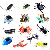 Wholesale Toys Ants - Wholesale-Fashion Children Toys Plastic Solar Power Ant Cockroach Spider Tortoise Crab Butterfly Insect Teaching Baby Kid Toy Gift BM88