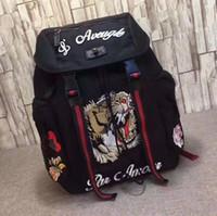 mochila laranja azul venda por atacado-Tigre Bordado Techpack com bordado designer de luxo saco de viagem homem mochila Estilo sacos de ombro bolsa de livro