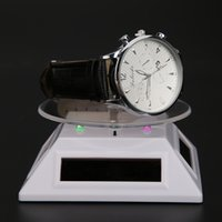 Wholesale-100 * 100 * 40mm Solar Automático Giratório Stand Ring Bracelet Jóias Display Rack Holder ABS Acrylic Watch Showcase 2017 Atacado