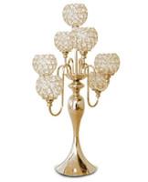 banket masaları dekorasyonları toptan satış-69 cm (H) düğün kristal masa merkezinde kristal avize 7 kafaları mumluk Düğün dekorasyon Ziyafet kaynağı LLFA