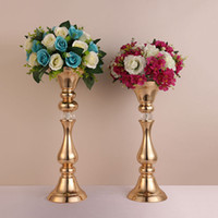 Wholesale gold stage props - Wedding props Flower Road Lead Iron Flower vase stand wedding table centerpieces Decoration Event Party Hotel Stage Decoration table decor