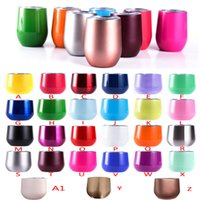 Wholesale Eco Friendly Coffee Cups Wholesale - 9oz stainless steel tumbler stemless wine glasses travel cup wine tumblers rose gold + 27colors with lid beer mugs coffee egg cup