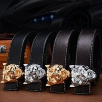 Wholesale services animals - Business Men Cowhide Belt Upscale Leopard Head Buckle Waist Belts Soft Long Service Life Waistband Hot Sale 23 8bl B