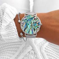 brazaletes del océano al por mayor-Mavis Hare Ocean Series Abalone Silver Mesh Relojes Nature Seashell Mujeres Relojes de pulsera con brazalete de cristal Pulsera de corazón Brazalete