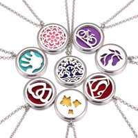 Wholesale pendant flower life - Aromatherapy Essential Oil Diffuser Necklace Love Tree of Life Flowers Pendant Locket Silver perfume Necklaces Jewelry