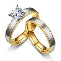 Wholesale Crystal Gifts For Men - New Fashion Gold-color crystal Rings For Women Man Wedding Ring for bride bridegroom Stainless Steel Promise Jewelry 080321