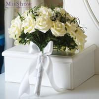 ingrosso crema artificiale-Bouquet da sposa in stile country per bouquet da sposa in pizzo Casamen Fiori in pizzo da sposa Spilla Bouquet Bouquet De Mariage