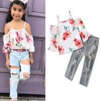 Wholesale child girls rip jeans for sale - Group buy Girls INS fashion set new Children long sleeves flower top Ripped jeans pieces set suit Baby kids clothing B001