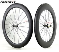 Wholesale 88mm clincher wheel set for sale - 700C full carbon wheels Front mm Rear mm depth mm width road bike wheelset UD matte finish clincher with pillar spokes
