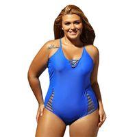 Wholesale swimwear big sizes for sale - Lady Swimwear Plus Size Woman Mujer Nadar Solid Big Yard Polyester Detachable Triangle Contiguous Beach Swimsuit Femme Bikini sy V