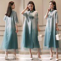 Wholesale qipao silk - Chinese Cheongsam Dress Robe Vietnam Ao Dai style gown Dress Chinese elegant embroidered Lotus Qipao long women's Modern casual dress