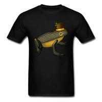 ingrosso rana del colletto-Divertente Dapper Frog Top Camicie per uomo Funky Ostern Day colletto tondo Tutto cotone manica corta Top T Shirt Party Tee - Camicie