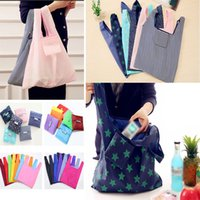 Wholesale fold beds - 19 Color Newest Nylon Foldable Shopping Bags Reusable Grocery Storage Bag Eco Friendly Shopping Bags Tote Bags HH7-1165