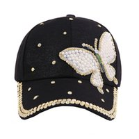 шляпы бабочки оптовых- Beauty Summer Baseball Cap Multi Color Rhinestone Butterfly Girls Women Fashion Snapback Hat