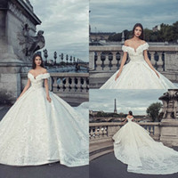 Wholesale dresss plus size resale online - Julia Kontogruni Autumn Wedding Dresses Lace D Floral Applique Off Shoulder Bridal Gowns Chapel Length Plus Size Wedding Dresss