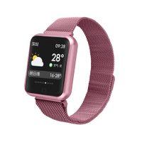 fitness uhrenarmband großhandel-Edelstahl-Bügel-P68 Wearable Smart Watch IP68 wasserdichter Fitness Tracker Herzfrequenzüberwachung Schlaf Blutdruck kabelloser Laden