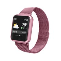 Wholesale pink kids watch online - P68 mm Smart Watch IP68 Waterproof Smartwatch Stainless Steel Watchband Bluetooth inch Touch Screen Heart Rate Sensor for iPhone X