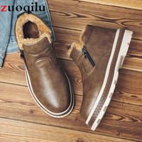 zapatillas altas para hombre. al por mayor-Botas de invierno de cuero para hombre Zapatos de invierno para hombre zapatos impermeables de alta superior para hombre zapatillas de deporte botines casuales para botas de nieve