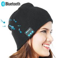 beanies наушники оптовых-Bluetooth Music Beanie Hat Беспроводная Smart Cap Гарнитура Гарнитура для наушников Микрофон Handsfree Music Hat OPP Сумка Пакет HHA29