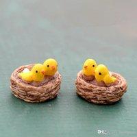 ingrosso miniature di giardino fiabesco-2Pairs Kawaii Cartoon Mini nido di uccello Home Decor Fairy Garden Miniature Micro paesaggio resina caffè Figurine Decorazione del giardino