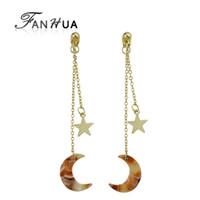 bunte acrylketten großhandel-Fanhua Gold-Farbe lange Kette mit Stern Charm Ohrringe bunte Acryl Mond geometrische Ohrringe Brincos für Frauen