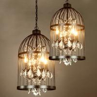 araña vintage de jaula de pájaros al por mayor-Lámpara de escenario vintage Candelabros de lujo Lámpara de jaula de pájaros Lámpara de hierro colgante de luz