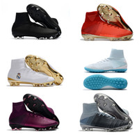 Wholesale youth cr7 soccer shoes resale online - fashion Mercurial Superfly white blue FG CR7 Kids Youth Football Boots Soccer Boots Men Soccer Shoes Women soccer cleats
