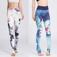 Wholesale Black White Patterned Leggings - Chinoiserie Women Leggings Ink Watercolor Print Flower Girl Stretchy Tight Capris Colorful Pattern Yoga Pants Gym Sports Trousers