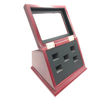 Wholesale stands for jewelry display - high quality Slant Wood T-shaped Boxes clear face 5 Position hole display box for all kind of Championship Rings
