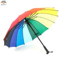 büyük şemsiyeler toptan satış-Moda Kadın Şemsiye Gökkuşağı Şemsiye Büyük Uzun Kolu Düz Renkli Şemsiye Kadın Güneşli Ve Yağmurlu 2D5