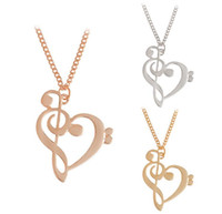 Wholesale Couple Music - Fashion love music note necklace Hollow out heart notes collarbone chain collar Multicolor special couple gift