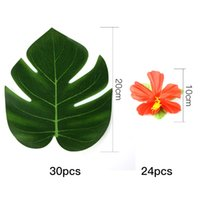Wholesale Blue Hawaiian Flowers - 54Pcs Party Decoration Supplies Tropical Palm Leaves Hibiscus Flowers Simulation Leaf for Hawaiian Jungle Beach Party DIY Decor
