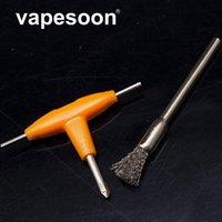 e zigarettenheizspulen groihandel-E-Zigarette DIY Werkzeug Kombination T-typ Schraubendreher + Reinigungsbürste für DIY RDA RDTA Zerstäuber Tank Heizung Drahtspule