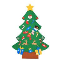 décoration de porte suspendue achat en gros de-Enfants DIY Feutre Arbre De Noël Avec Des Ornements Enfants Cadeaux De Noël pour 2018 Nouvelle Année Porte Tenture Tenture Décoration De Noël LE171